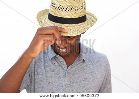 Happy Guy With Hat Laughing And Looking Down
