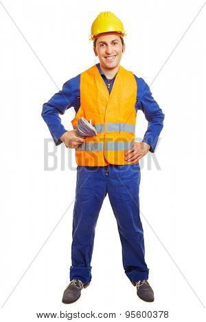 Happy blue collar worker with hardhat and safety vest