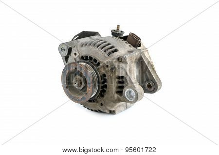 Old Used Generator Isolated On White
