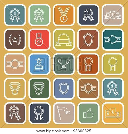 Award Line Flat Icons On Brown Background