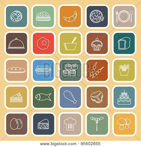 Food Line Flat Icons On Yellow Background