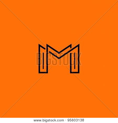 Two Letter M Monogram Style Mockup Logo, Design Thin Line Element For Business Card