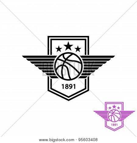 Basketball Ball With Wings T-shirt Print Sport Emblem, Team Mockup Logo