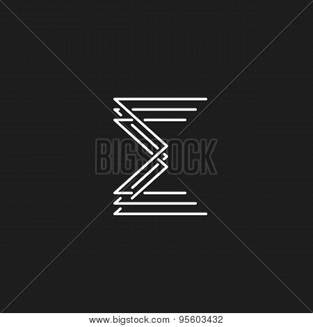 Monogram Letter E Of Interwoven Fine Lines, Mockup Business Card Logo