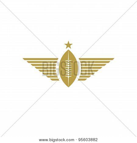 Rugby Ball With Wings Icon, American Football Tournament Mockup Sport Logo