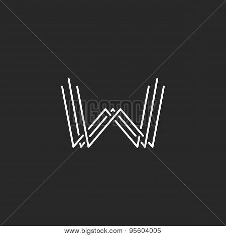 Modern Letter W Monogram Logo, Mockup Business Card Emblem