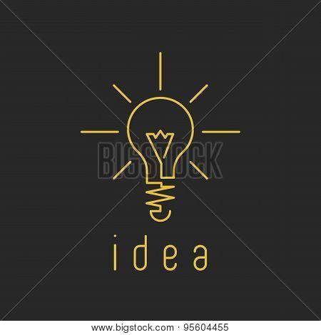 Lamp Light Mockup Yellow Business Logo, Fresh Innovation Idea Icon