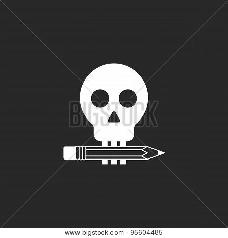 Pencil And Skull Mockup Logo Of Design Studio Or Tattoo Parlor
