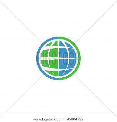 Ecology Globe Logo, Green Technology Graphic Sing, Idea Natural Tech Symbol