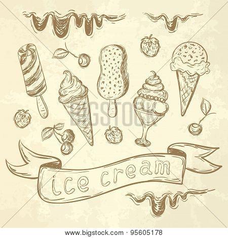 Hand Drawing Set Of Ice Cream