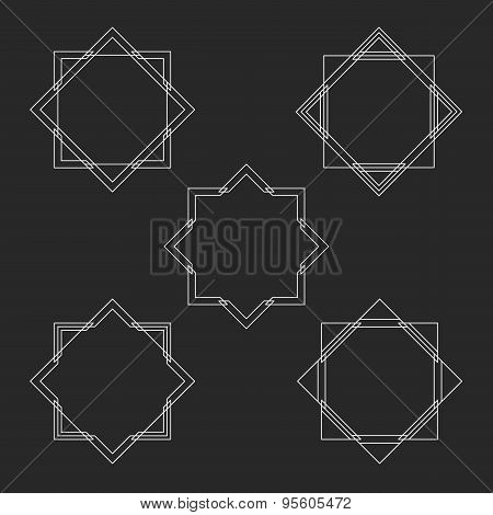 Minimal Hipster Monogram Frames Set, Mockup For Linear Letter Logo