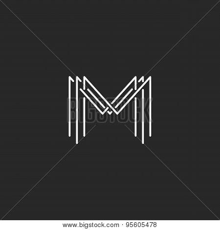 Monogram Logo Lettering Letter M, Design Business Card Mockup Sign