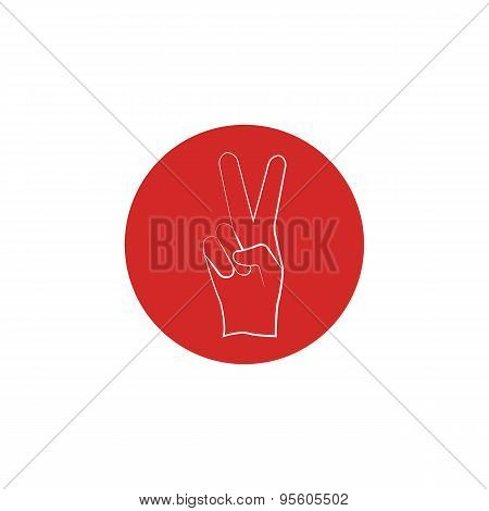 Red Sign Of Victory Of The Fingers, The Political Win Design Icon