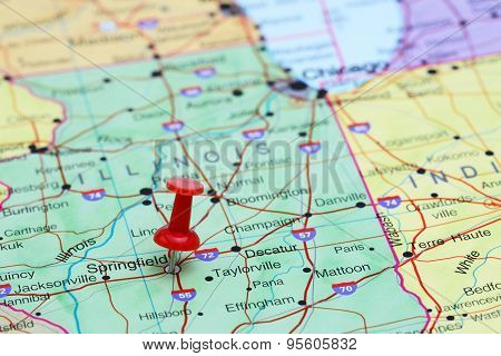 Springfield pinned on a map of USA