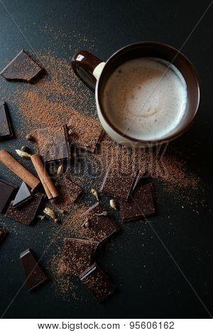 Chocolate, cinnamon and coffee