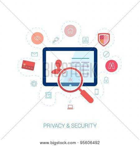 Protect network privacy and data security flat icons illustration