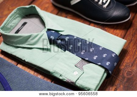 Man's Collection Of Clothes In Casual Style