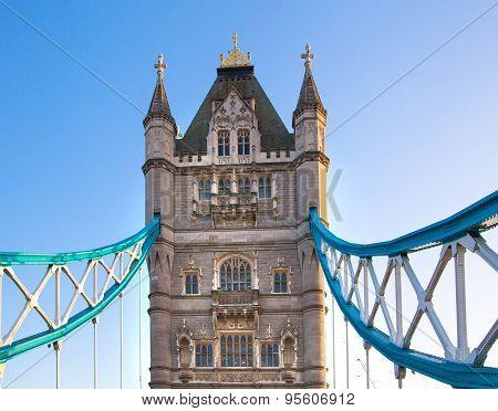 LONDON, UK - APRIL15, 2015: Tower bridge in sunset. City of London, south bank of river Thames walk.