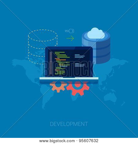 Application software developer, program code and cloud database or server migration flat icon illust
