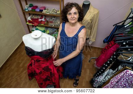 Seamstress In Sewing Workshop