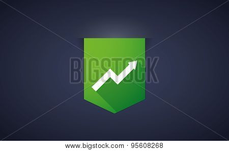 Long Shadow Ribbon Icon With A Graph