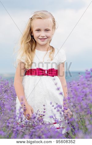 Cute Little Girl Is Going To A Lavender