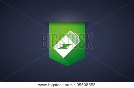 Long Shadow Ribbon Icon With A Battery