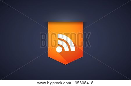 Long Shadow Ribbon Icon With An Rss Sign