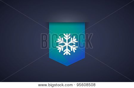Long Shadow Ribbon Icon With A Snow Flake
