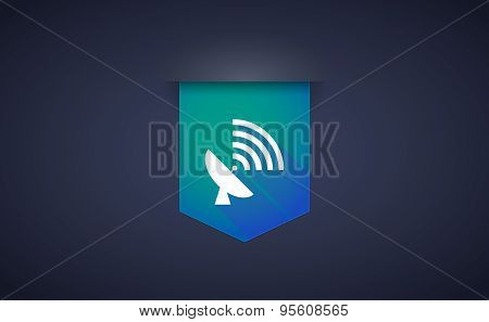 Long Shadow Ribbon Icon With A Satellite Dish