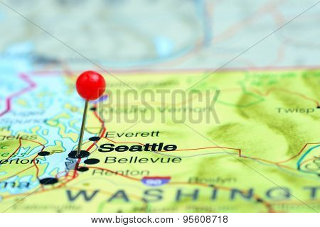 Seattle pinned on a map of USA