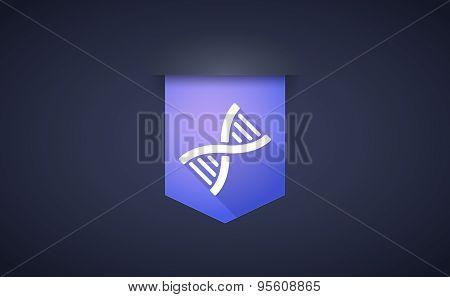 Long Shadow Ribbon Icon With A Dna Sign