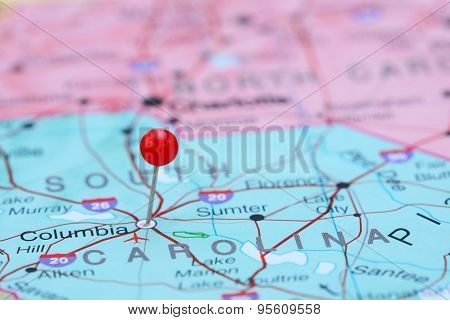 Columbia pinned on a map of USA