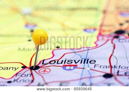 Louisville pinned on a map of USA