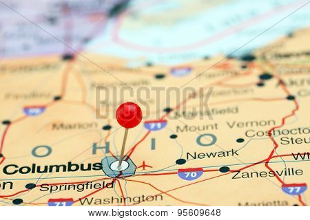 Columbus pinned on a map of USA