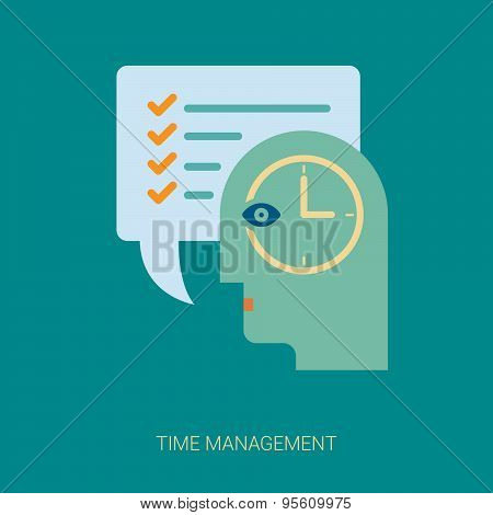Time tracking and task management flat icons