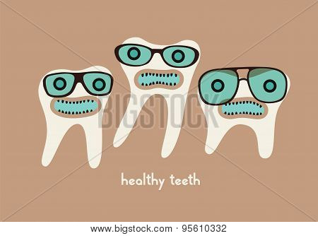 Funny teeth cartoon characters in glasses. Vector illustration.