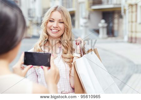 Two friend having fun at shopping