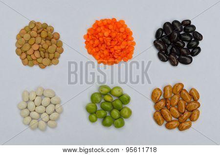 Lentils, peas, beans