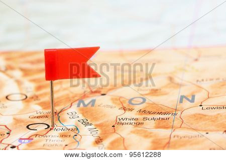 Helena pinned on a map of USA