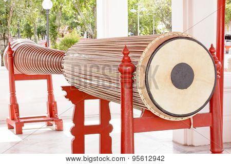 Tall narrow drum 5.32 meters in the marble temple or Wat Benchamabophit Dusitvanaram in Bangkok,Thai