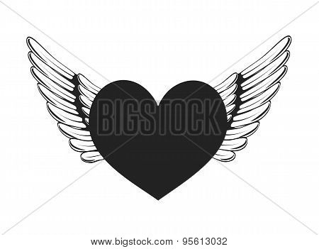 wings and heart symbol vector