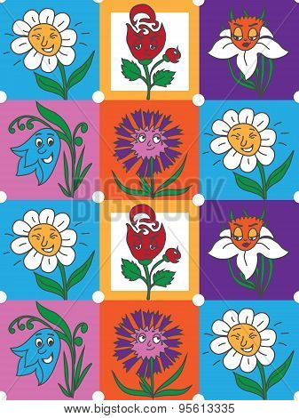 Colorful flowers fun collection pattern for kids