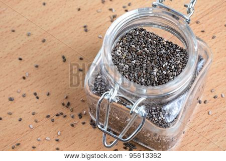 Chia Seeds In The Glass Bottle