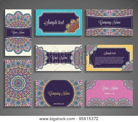 Business Card. Vintage decorative elements. Ornamental floral business cards, oriental pattern, vect