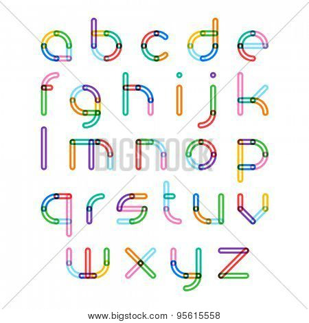 Colorful font, alphabet letters. Vector.