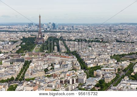 View Of Paris With Eiffel Tower From Montparnasse Building