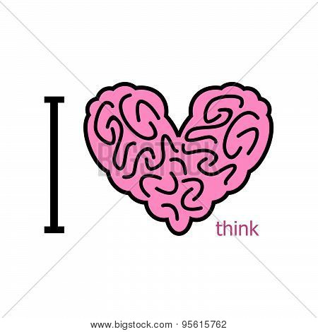 I love to think. Heart symbol from brain. heart organ human. Vector illustration
