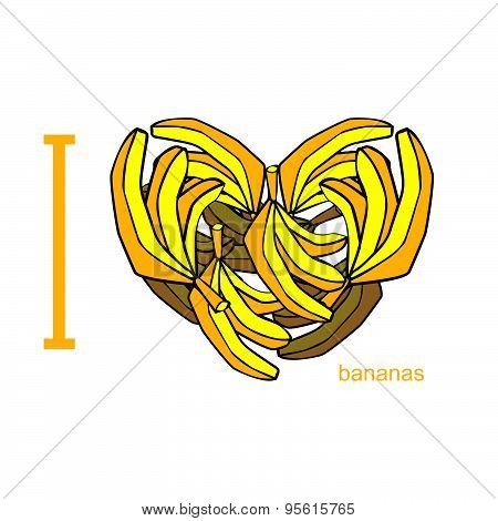 I love bananas. Symbol of heart of bananas. Tropical African fruit. Useful food for human health. Ve
