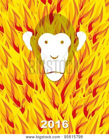 New year 2016. Monkey on flame background. Year of  Fire Monkey on Chinese calendar. Vector illustra